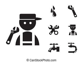 Black Plumber Icons Set, eps vector illustration
