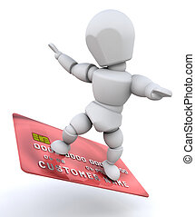 Person with credit card - Person surfing on a credit card