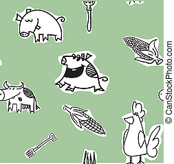 Seamless pattern - cows, hens, pigs - Seamless pattern,...