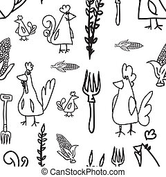 Chickens and hens Seamless Pattern - Seamless Pattern,...