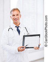 male doctor with stethoscope showing cardiogram - healthcare...