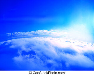 Blue sky above the clouds - Blue sky above the thick white...