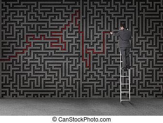 Businessman standing on a ladder and drawing a red line...