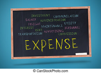 Expense written in yellow with a chalk on blackboard