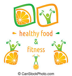 Health and food symbols - Healthy food and fitness symbols,...