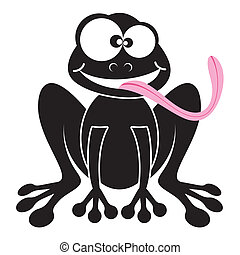 Cartoon frog - Happy black frog cartoon character with long...