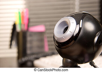 web camera - close-up view of black web camera in ofice