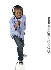 Singing DJ - Full-length image of an elementery DJ happily...