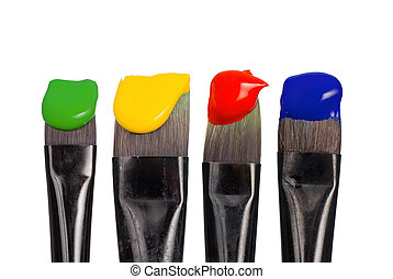 Isolated paintbrushes with paint - Four paintbrushes with...