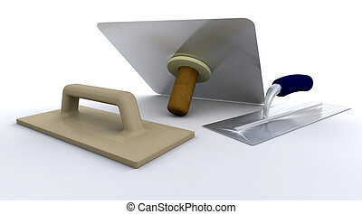Plasterers tools - 3D render of plasterers tools