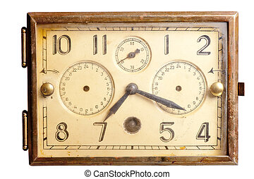 old rusty clock of the last century on a white background