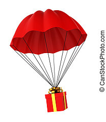 Parachute with a gift box. 3d illustration on white...
