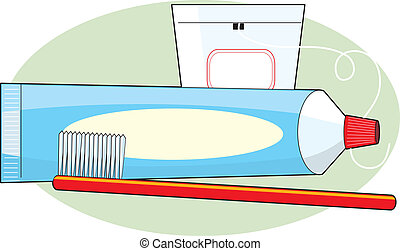 Toothpaste and Brush - A tube of toothpaste, a toothbrush...