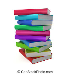 Stack of coloured books