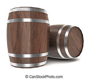 Wooden barrels. 3d illustration on white background