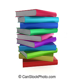 Stack of coloured books. 3d illustration on white background...