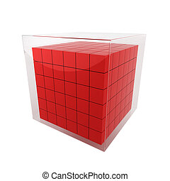 Group of cubes 3d illustration on white background