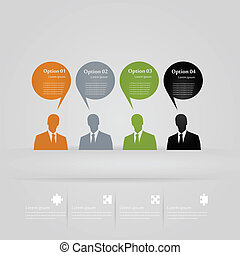 Four opinions infographics vector illustration
