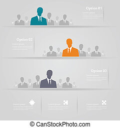 Three groups infographics vector illustration