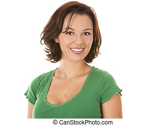 pretty brunette in green - casual woman wearing green outfit...