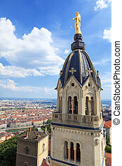 View of Lyon with Golden Statue of Virgin Mary, France