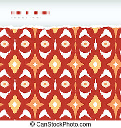 Red and gold ikat geometric frame horizontal torn seamless pattern background