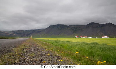 Mountains, road and farms