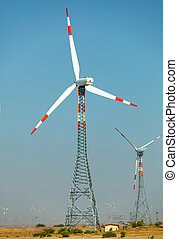 Wind power stations in desert India, Jaisalmer - Wind power...