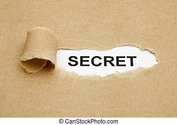 Secret Concept - The word Secret appearing behind torn brown...