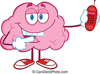 Brain Holding A Mobile Phone - Happy Brain Character Holding...