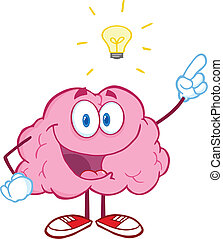 Brain Character With A Big Idea - Happy Brain Character With...