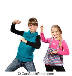 dos, niñas, bailando