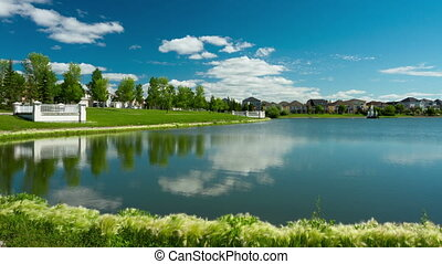 Blue Sky and Clouds at the pond - Time Lapse of Blue Sky and...