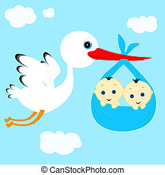 stork and boys - cheerful stork transfers in flight newborn...
