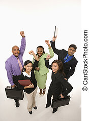 Businesspeople cheering - Portrait of multi-ethnic business...