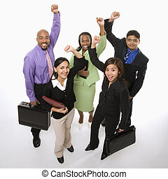 Business victory - Portrait of multi-ethnic business group...