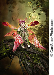 Bubble Magic - 3D computer graphics of a fairy sitting on a...