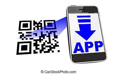 smartphone QR scan - smartphone app download with QR code...