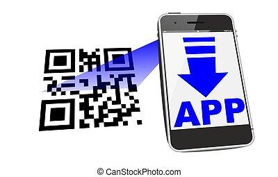 smartphone QR scan - smartphone app download with QR code...