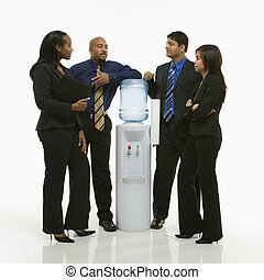 Group at water cooler - Multi-ethnic business group of men...