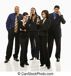 Business group on cellphones. - Multi-ethnic business group...