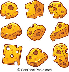 Cartoon cheese pieces. Vector clip art illustration with...