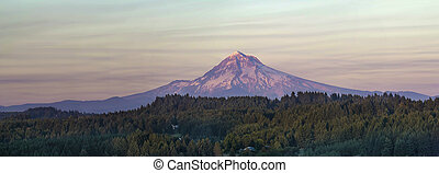 Mount Hood at Sunset Over Oregon Landscape Panorama - Mount...