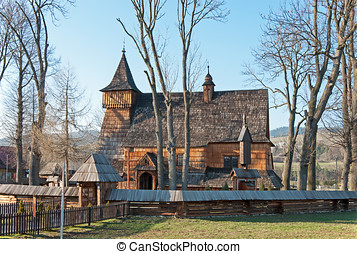 Old Wooden Church in Debno, Poland - Old Gothic wooden...