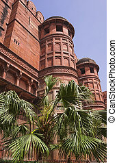 Towers of Red Fort Lal Qila Old Delhi, India - The Red Fort...