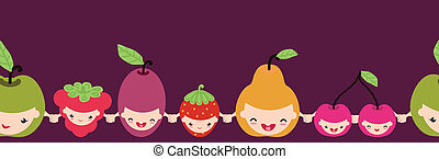 Happy fruit characters horizontal seamless pattern border -...