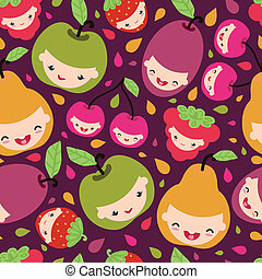Happy fruit characters seamless pattern