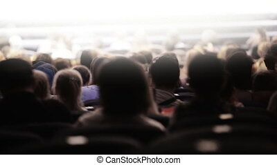 Spectators at theatrical performance. Time lapse. -...