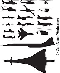 aircrafts - set of vector illustrations of silhouettes of...