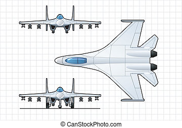 fighter - illustration of a pursuit plane Simple gradients...